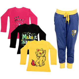 IndiWeaves Girls Combo Pack 4 (Pack of 3 Full Sleeves T-Shirts and 1 Lowers/Track Pant )_Red::Black::Yellow::Blue_Size:-6-7 Years