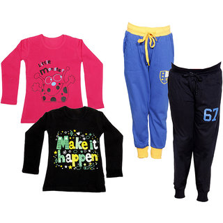 IndiWeaves Girls Combo Pack 4 (Pack of 2 Full Sleeves T-Shirts and 2 Lowers/Track Pant )_Multiple_Size:-6-7 Years