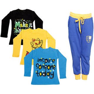 IndiWeaves Girls Combo Pack 4 (Pack of 3 Full Sleeves T-Shirts and 1 Lowers/Track Pant )_Black::Yellow::Blue::Blue_Size:-6-7 Years
