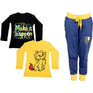 IndiWeaves Girls Combo Pack 3 (Pack of 2 Full Sleeves T-Shirts and 1 Lowers/Track Pant )_Black::Yellow::Blue_Size:-6-7 Years