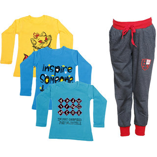 IndiWeaves Girls Combo Pack 4 (Pack of 3 Full Sleeves T-Shirts and 1 Lowers/Track Pant )_Yellow::Blue::Blue::Grey_Size:-6-7 Years