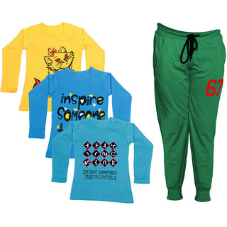 IndiWeaves Girls Combo Pack 4 (Pack of 3 Full Sleeves T-Shirts and 1 Lowers/Track Pant )_Yellow::Blue::Blue::Green_Size:-6-7 Years