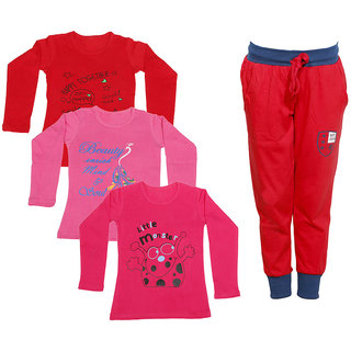 IndiWeaves Girls Combo Pack 4 (Pack of 3 Full Sleeves T-Shirts and 1 Lowers/Track Pant )_Red::Pink::Red::Red_Size:-6-7 Years