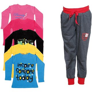IndiWeaves Girls Combo Pack 6 (Pack of 5 Full Sleeves T-Shirts and 1 Lowers/Track Pant )_Multiple_Size:-6-7 Years