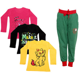 IndiWeaves Girls Combo Pack 4 (Pack of 3 Full Sleeves T-Shirts and 1 Lowers/Track Pant )_Red::Black::Yellow::Green_Size:-6-7 Years