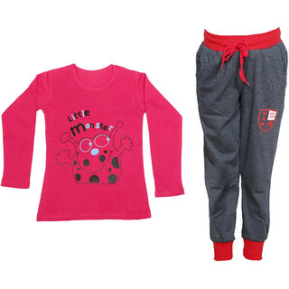 IndiWeaves Girls Combo Pack 2 (Pack of 1 Full Sleeves T-Shirts and 1 Lowers/Track Pant )_Red::Grey_Size:-6-7 Years