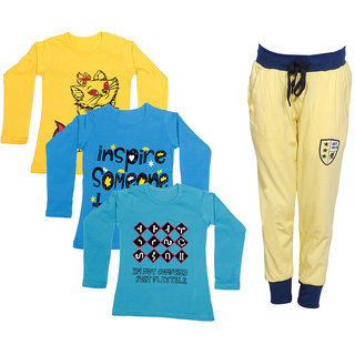 IndiWeaves Girls Combo Pack 4 (Pack of 3 Full Sleeves T-Shirts and 1 Lowers/Track Pant )_Yellow::Blue::Blue::Yellow_Size:-6-7 Years