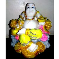Laughing Buddha Statue Feng Shiu Multi-Color Poly Marble Finish 13 Cms Auspicious God Of Wealth Home Decor Showpiece