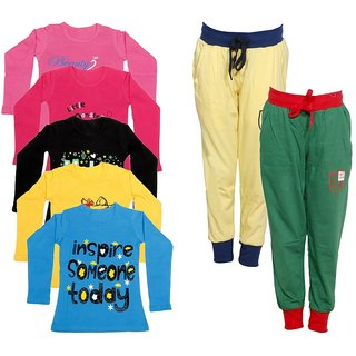 IndiWeaves Girls Combo Pack 7 (Pack of 5 Full Sleeves T-Shirts and 2 Lowers/Track Pant )
