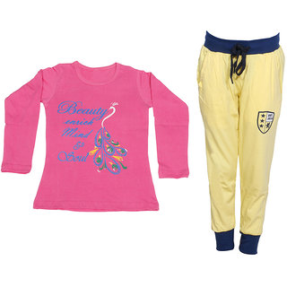 IndiWeaves Girls Combo Pack 2 (Pack of 1 Full Sleeves T-Shirts and 1 Lowers/Track Pant )_Pink::Yellow_Size:-6-7 Years