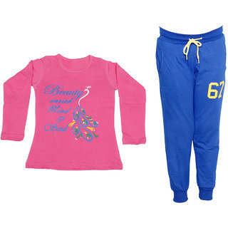 IndiWeaves Girls Combo Pack 2 (Pack of 1 Full Sleeves T-Shirts and 1 Lowers/Track Pant )_Pink::Blue_Size:-6-7 Years