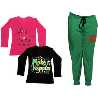 IndiWeaves Girls Combo Pack 3 (Pack of 2 Full Sleeves T-Shirts and 1 Lowers/Track Pant )_Red::Black::Green_Size:-6-7 Years