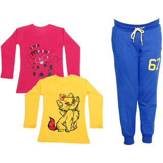 IndiWeaves Girls Combo Pack 3 (Pack of 2 Full Sleeves T-Shirts and 1 Lowers/Track Pant )_Red::Yellow::Blue_Size:-6-7 Years
