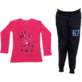 IndiWeaves Girls Combo Pack 2 (Pack of 1 Full Sleeves T-Shirts and 1 Lowers/Track Pant )_Red::Black_Size:-6-7 Years