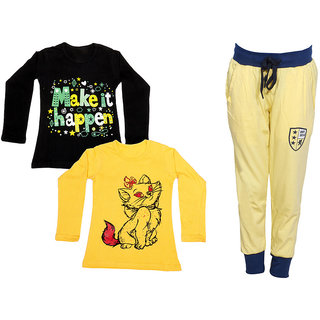 IndiWeaves Girls Combo Pack 3 (Pack of 2 Full Sleeves T-Shirts and 1 Lowers/Track Pant )_Black::Yellow::Yellow_Size:-6-7 Years