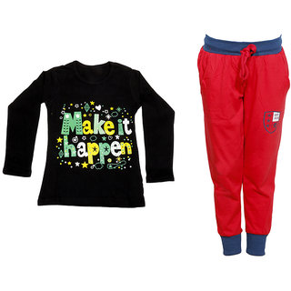 IndiWeaves Girls Combo Pack 2 (Pack of 1 Full Sleeves T-Shirts and 1 Lowers/Track Pant )_Black::Red_Size:-6-7 Years