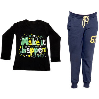 IndiWeaves Girls Combo Pack 2 (Pack of 1 Full Sleeves T-Shirts and 1 Lowers/Track Pant )_Black::Navy Blue_Size:-6-7 Years