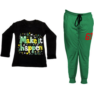 IndiWeaves Girls Combo Pack 2 (Pack of 1 Full Sleeves T-Shirts and 1 Lowers/Track Pant )_Black::Green_Size:-6-7 Years