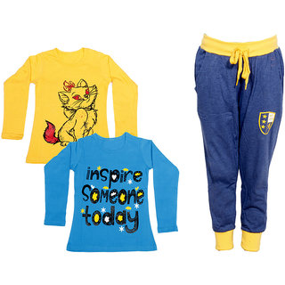 IndiWeaves Girls Combo Pack 3 (Pack of 2 Full Sleeves T-Shirts and 1 Lowers/Track Pant )_Yellow::Blue::Blue_Size:-6-7 Years
