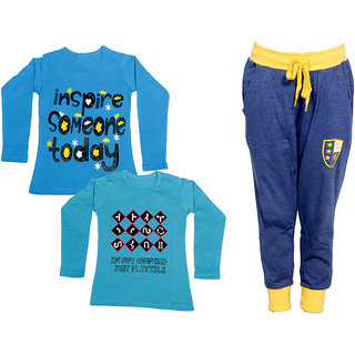 IndiWeaves Girls Combo Pack 3 (Pack of 2 Full Sleeves T-Shirts and 1 Lowers/Track Pant )_Blue::Blue::Blue_Size:-6-7 Years