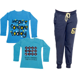IndiWeaves Girls Combo Pack 3 (Pack of 2 Full Sleeves T-Shirts and 1 Lowers/Track Pant )_Blue::Blue::Navy Blue_Size:-6-7 Years