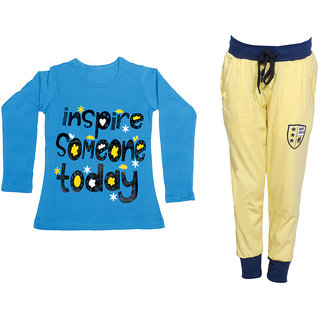 IndiWeaves Girls Combo Pack 2 (Pack of 1 Full Sleeves T-Shirts and 1 Lowers/Track Pant )_Blue::Yellow_Size:-6-7 Years