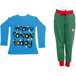 IndiWeaves Girls Combo Pack 2 (Pack of 1 Full Sleeves T-Shirts and 1 Lowers/Track Pant )_Blue::Green_Size:-6-7 Years