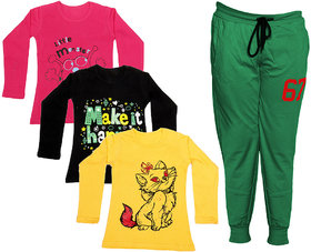 Indistar Girls Combo Pack 4 (Pack of 3 Full Sleeves T-Shirts and 1 Lowers/Track Pant )_Red::Black::Yellow::Green_Size:-6-7 Years