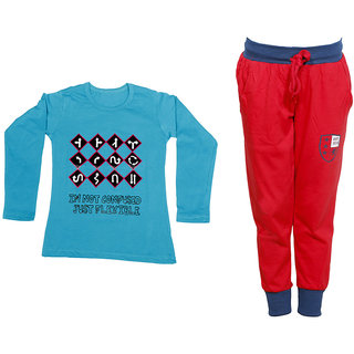 IndiWeaves Girls Combo Pack 2 (Pack of 1 Full Sleeves T-Shirts and 1 Lowers/Track Pant )_Blue::Red_Size:-6-7 Years