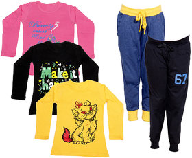 Indistar Girls Combo Pack 5 (Pack of 3 Full Sleeves T-Shirts and 2 Lowers/Track Pant )_Multiple_Size:-6-7 Years
