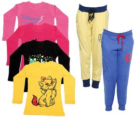 Indistar Girls Combo Pack 6 (Pack of 4 Full Sleeves T-Shirts and 2 Lowers/Track Pant )_Multiple_Size:-6-7 Years