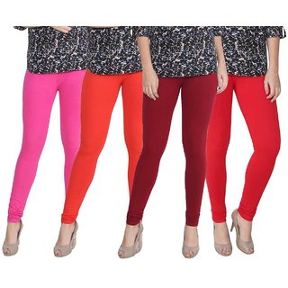 Attree Women Super Cotton Lycra Pink & Red & Maroon & Bright Red  colored Plan Legging (Pack Of 4)