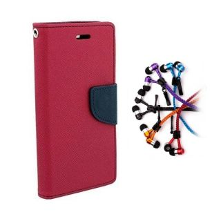 Redmi 1s Wallet Diary Flip Case Cover Pink With Zipper Earphone
