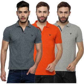 Youthen Multicolor Polo Neck  Half Sleeve T-Shirt for Men