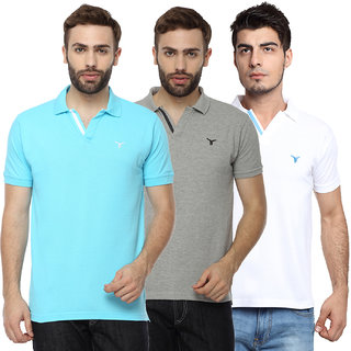 Youthen Multicolor Polo Neck  Half Sleeve T-Shirt for Men