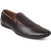 Adreno Jimmy Men's Brown Slip On Formal Shoes