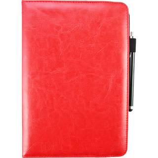 Emartbuy Universal ( 9-10 Inch ) Red Plain 360 Degree Rotating Stand Folio Wallet Case Cover + Stylus For N97 Tablet PC 9.6 Inch