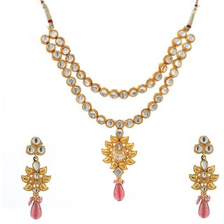 Kriaa by JewelMaze Fashion Kundan Pink Drop Gold Plated Necklace Set -FAF0054