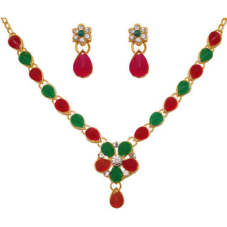 Kriaa by JewelMaze Red And Green Pota Stone Floral Design Gold Plated Necklace Set-PAA0167