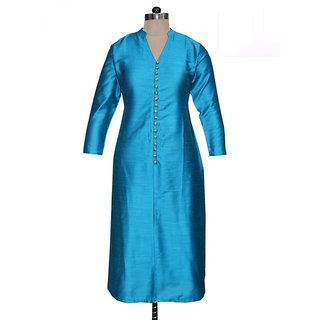 Women Fashion Blue Cotton Kurtis