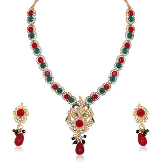 Kriaa by JewelMaze Maroon And Green Pota And Austrian Stone Drop Gold Plated Necklace Set-PAA0176
