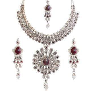 Kriaa by JewelMaze Maroon Austrian Stone Pearl Drop Gold Plated Necklace Set With Maang Tikka-AAA0019
