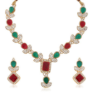 Kriaa by JewelMaze Maroon And Green Kundan Austrian Stone Gold Plated Necklace Set-PAA0179