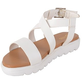 Estatos White, Brown, Golden Platform Sandals