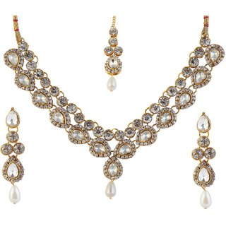 Kriaa by JewelMaze Austrian Stone Gold Plated Necklace Set With Maang Tikka-FAH0034