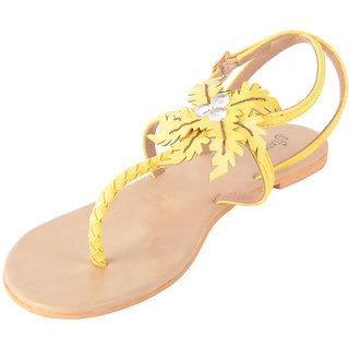 Estatos Yellow,Pink,Peach T Strap Flat Sandals
