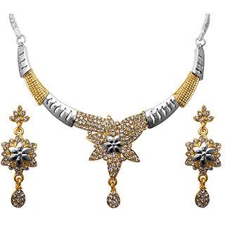 Kriaa by JewelMaze Austrian Stone Floral Design 2Tone Necklace Set-PAA0186