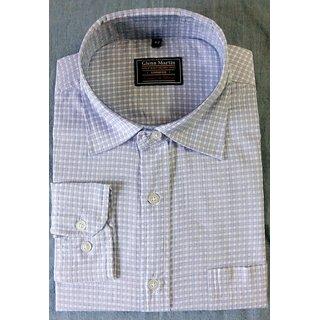 Glenn Martin Men's Formal shirt, Sky Blue, Checks,Regular, Full Sleeves, 38, Polycotton