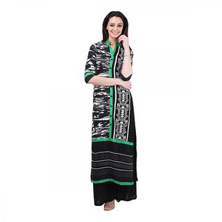 UNITED Womens Black Printed Rayon Stitched Kurti OM1608571