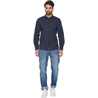 Springfield Men's Navy blue colour Printed shirt